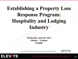 Establishing a Property Loss Response Program
