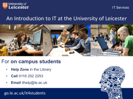 on campus students - University of Leicester
