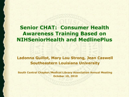 Senior CHAT: Consumer Health Awareness Training Base on