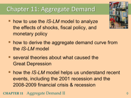 Ag. Demand II: Applying the IS-LM model