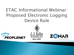 Proposed Electronic Logging Device Rule