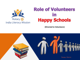 FINAL Role of Volunteers in Happy Schools - Rotary T-E-A-C-H