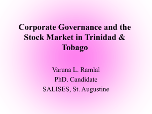 Corporate Governance and the stock market in