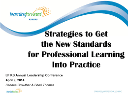 Strategies to Get the New Standards for Professional Learning Into