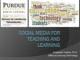 Review the slides on social media for teaching and learning