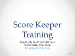 Score Keeper Training