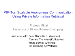 PIR-Tor: Scalable Anonymous Communication Using