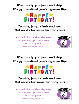 It*s time to tumble It*s time to play Help me celebrate my birthday!