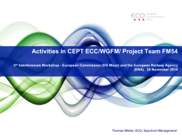Activities in CEPT ECC/WGFM/ Project Team FM54