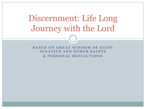 Discernment: A Life Long Journey with the Lord