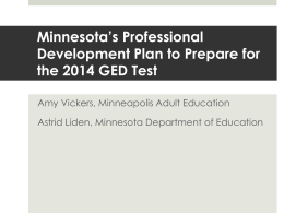 Minnesota`s Professional Development Plan to Prepare for