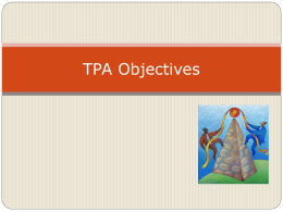 TPA Objectives - Morehead State University