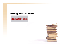 EndNote and EndNote Web