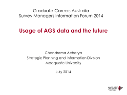 Usage of AGS Data and the Future