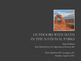 Outdoors with Mathematics in the National Parks