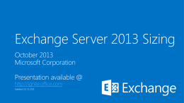 Exchange Server 2013 Sizing