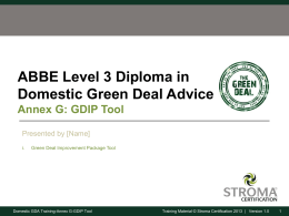 Green Deal Improvement Package Tool