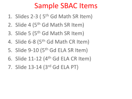 082112 SBAC Question Examples ELEMENTARY