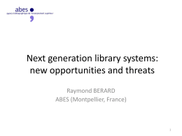 Next generation library systems