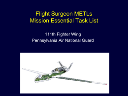 Assad METLs flight surgeon brief - Alliance of Air National Guard