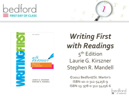Writing First with Readings