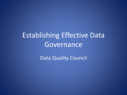 Establishing Effective Data Governance