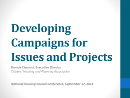 Developing Campaigns for Issues and Projects
