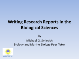 Writing Lab Reports in the Biological Sciences