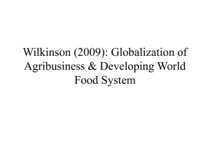 Globalization of Agribusiness & Developing World Food System