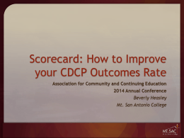 Scorecard - Association of Community and Continuing Education