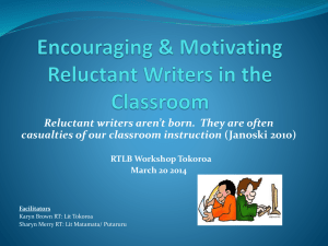 Encouraging Motivating Reluctant Writers in the