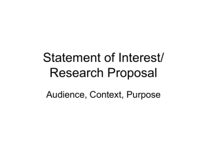 Statement of Interest/Research Proposal
