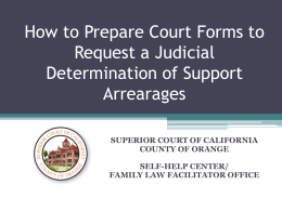Judicial Determination of Support Arrearages