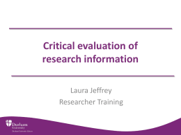 Critical evaluation of research information