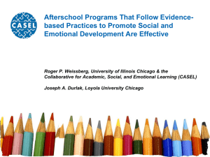The Impact of After School Programs That Seek to Promote Personal