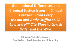 Generational Differences and Criminal Justice Issues in Clinical