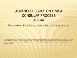 Advanced Issues on U Visa Consular Process (January 2011)