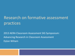 Research on Classroom Assessment Symposium