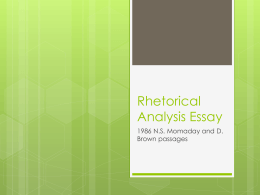 Rhetorical Analysis Essay 1986