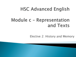 Hsc Advanced english Module c * Representation and Texts