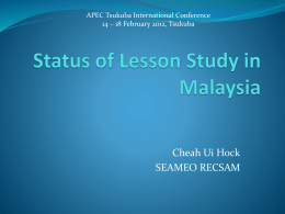 Status of Lesson Study in Malaysia