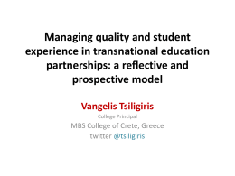 Managing quality and student experience in transnational education