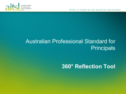 Standard 360 Reflection Tool - Australian Institute for Teaching and