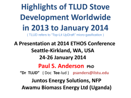 Highlights of TLUD Stove Development Worldwide in 2013