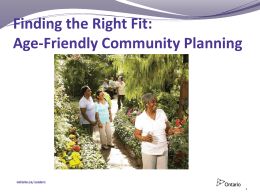 Finding the Right Fit Age-Friendly Community Planning