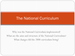 The Characteristics of the National Curriculum for PE