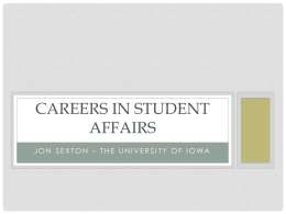 Career in Student Affairs - Jon Sexton