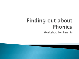 Phonics Workshop for Parents - St Edward`s Catholic First School