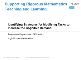 Increasing the Cognitive Demand of Tasks