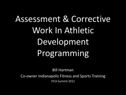 Assessment & Corrective Work In Athletic Development Programming